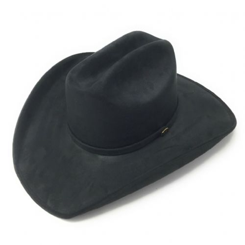 Faux Suede Black Cowboy Hat - Cattleman Crown, Waterproof